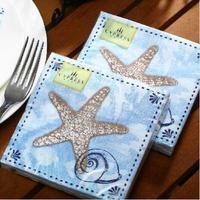 [4 packs] 100% virgin wood pulp creative blue sea wedding paper napkins printed napkin party napkin cocktail napkins -4NC3951EC