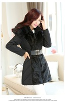 Big Promotion 2015 Fashion Ladies Parkas Clothing Faux Fur Hooded Thicken Lady Wear Long Style Women Down Coat w Elastic Belt