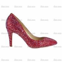 Factory Direct Sales Rhinestone Custom Handmade Crystal Women Pumps 2014 Mary Janes Pu Flock Truen Lace Black Heels Shoes