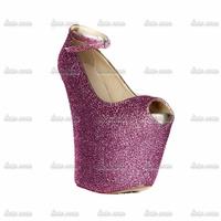 Wedges 2015 Woman Rhinestone Custom Handmade Crystal 2015 Autumn Spring High Heels Spring Red 16 Women Fashion Strap Lip Pumps