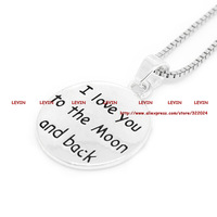 2015 Fashion  I Love You To The Moon and Back Silver Gold Engrave Necklace Women Gift Jewelry #LN918