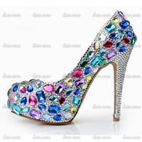 Hot Selling Rhinestone Custom Handmade Crystal Pointed Toe Rhinestone Pumps Shoes Gold Mary Janes Pu Flock Truen Lace Red Sole