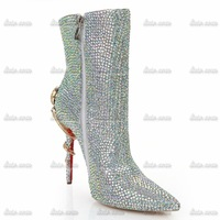 Retail/Wholesale Free Shipping Rhinestone Crystal Women High Heels Boots 19cm Spring Red Women 11 Fashion Women Pumps Boots