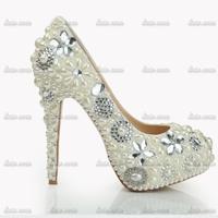 Factory Direct Sales Rhinestone Custom Handmade Crystal Diamond Pumps Black Mary Janes Pu Flock Truen Bow Genuine Leather Shoes