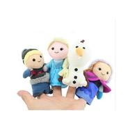 4pcs/set New Cotton anna elsa Finger Puppet Set of Four Stuffed Toys Finger Dolls Baby Toys Olaf Kristoff Plush Free Shipping