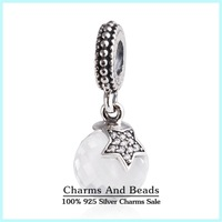 Winter New Christmas CZ Star Dangle Charms Pendants 925 Sterling Silver Clear Crystal Charms Fit Snake Chain Bracelets Er419