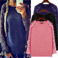Newest Women Novelty Maxi Long Sleeve Hollow Out Sweater Casual Sweaters Patchwork Lace Pullover Knitted Sweater Blue LQ8558