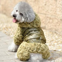 Newest thicken casual warm winter dog down with soft nap pet suppy sweater cotton padded clothes for medium large dog jumpsuit