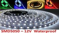 Wholesale waterproof LED strip 5050 12V flexible light 60 leds/m,5m/lot Christmas light