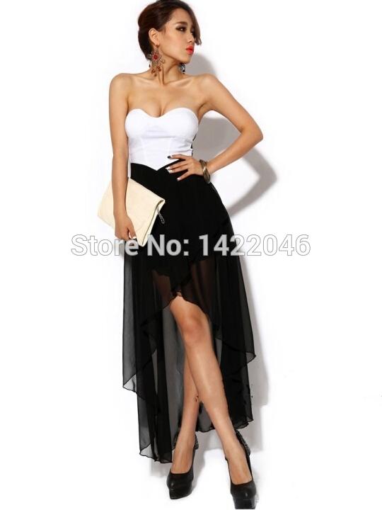 Strapless Off Shoulder Women Sexy Club Dress 2015 Black White Club Wear Ladies Summer Asymmetrical Party Dresses S M L WDRo108(China (Mainland))