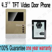 2014/2015 New luxury gold acrylic panel 4.3 inch  Video Door Phone Doorbell  Security Entry Intercom System doorphone rain cover