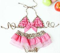 New 2014 Leopard/flower Babyswimwear 3 Pcs /set  Pink/black/blue Toddler Swimsuits Hat+Bra+Lace Skirt Menina Biquini Infantil