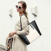 Hot 2014 Fashion Cross Leather Women's Handbag Euramerican Color Block One Shoulder Handbag Shipping Bag Casual Women's Tote Bag