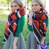 bufanda mujer 2014 Winter Women Scarves Imitation Cashmere Plaid Scarf Shawl Oversize 140 * 140 CM