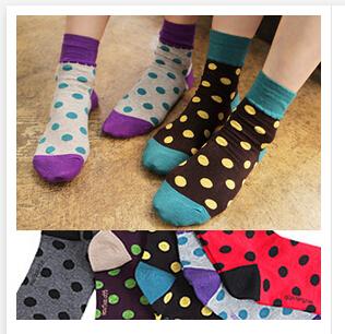 socks female big polka dot candy color women s socks 100 cotton