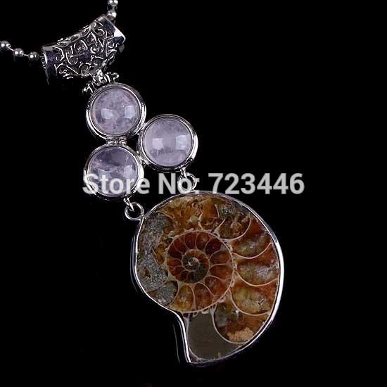 Natural Rose Quartz 3 Cabochon Beads Different Half Ammonite Conch Fossil Reiki Pendulum Pendant Charms Amulet Retro Jewelry 10X(China (Mainland))
