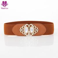 2014 Korea style double buckle all match imitation leather cummerbunds for women,elastic wide waist belt,female dress decoration