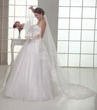 versandkostenfrei, hochzeitskleid Groß-/Einzelhandel 100% spitzenkante 3m lange schleier/brautschleier/Braut zubehör/kopf schleier(China (Mainland))
