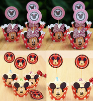 24pcs Minnie & Mickey boy & girl cupcake wrappers & toppers picks decoration,kids/children birthday party favors supplies