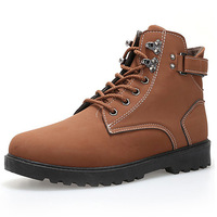Big size men warm leather boots winter work boot snow fashion brand man plush flats fur ankle shoes lace-up driver hiking 690