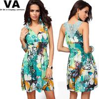 Womens Summer Dresses tropical for women sexy lace Sleeveless Butterfly flower Print Dress Woman Bohemian Beach Dress W00046