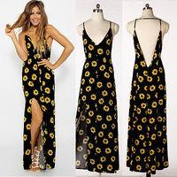 2014 New Arrival Women Summer Dress Sexy V-neck Strap Backless Floral Print Sleeveless Halter Long Evening  Dress