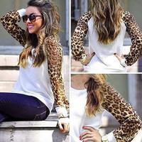 3 Color M-3XL Women Leopard Printed T shirt 2015 Spring Fashion Tee Long Sleeve T-shirt Women Leopard Tops