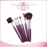 2014 Promotion sale makrup brushes 7pcs/lot Makeup Brush Set with Leather-Like Case Portable Make up Brushes purple