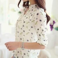 Hot Sell New 2014 Fashion Women Chiffon Blouses Flower Print Lapel Casual Chiffon Foldable Sleeved Shirts Elegant Women Tops XL