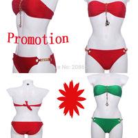 2015 Summer Victoria Pink Swimsuit Womens Push up Tie Golden Chain Swimwear Halter print Bra Bikinis set Lady Plus Size bkn07