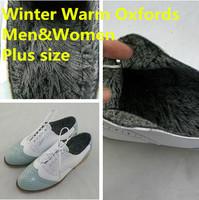 2014 Ladies Winter Warm Oxfords Shoes Women Men Plus Size Genuine Leather Shoes Brogues Leisure Vintage Women Casual Flats Shoes