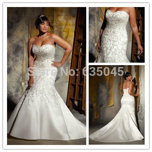 2015 New Custom Made Ivory White Satin Beading Pearl Appliqued Mermaid Wedding Dress Plus Size Wedding
