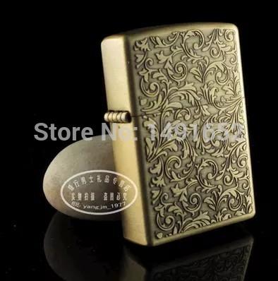 High Quality Tang grass bronze Fashion oil kerosene lighters Windproof Metal Smoking Fuel Lighters with Free Flintstone(China (Mainland))
