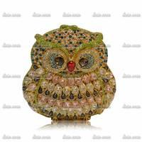 2Colors Wholesale & Retail Luxury Animal Owl Vintage Handmade Rhinestone Women Leather Handbags Party Fashion Wedding Dress Bag