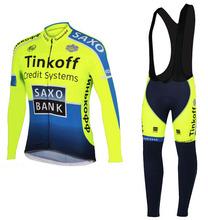 2014 Tinkoff Saxo Bank Cycling Long Sleeve Jersey Jacket Cycling (Bib) Tight Kits Bib Pants Roupa Ciclismo Cycling Clothing(China (Mainland))