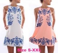 Summer new fashion Hot sale women dress elegant dresses sleeveless dress retro print dress femme vestido free shipping LJ166XGJ