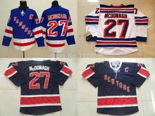 Hommes Ryan McDonagh Jersey Rangers de New York McDonagh Jersey # 27 chandails de Hockey bleu foncé blanc Rangers de New York assemblé(China (Mainland))