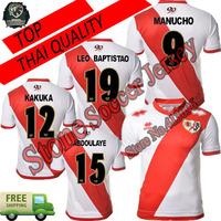 14 15 Rayo Vallecano jersey soccer homE white away red TOP QUALITY 2015 Rayo Vallecano football shirt custom nameIZE