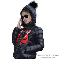 2014 women's small fox applique embroidered with a hood short design down coat outerwear