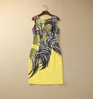 S-XXL 2015 new runway fashion sexy Brand O neck sleeveless print yellow tank plus size one piece dresses 198150
