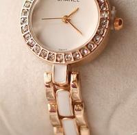 free shipping women luxury watch quartz watch Fake ceramic diamond bracelet women's watches black/white rose gold