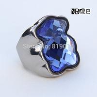 Fashion Stainless steel jewelry Ring Bear Zircon Wedding Rings for Women