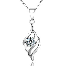 Joyme new fashion women jewelry 925 sterling silver Cubic Zircoina Pendant Necklace Short Necklaces Pendantd