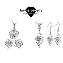Joyme 2014 new fashion women Jewelry set 925 Silver Crystal Pendant Necklace Earrings set Bridal jewelry(China (Mainland))