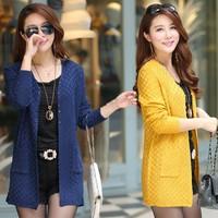 Fall/winter 2014 new Korean version of women in long loose knit sweater coat cardigan sweater