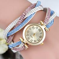 Hot New Fashion Lady Color Rhinestone Strap Bracelet Watches,Women Dress Watches Quartz clock Wristwatch relogio feminino