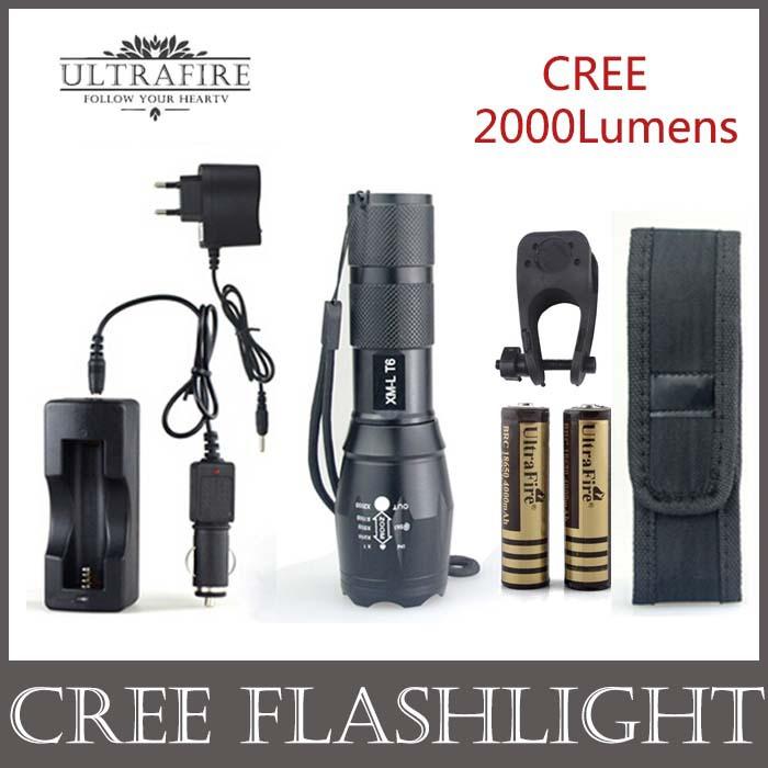 UltraFire E17 CREE XML T6 2000Lumen 5-modes Outdoor Lighting Lantern Led Flashlight Kit +DC/Car Charger+2*18650 battery+Holster(China (Mainland))