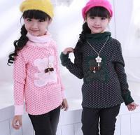 Children's Tops T Shirt New autumn winter baby girls little Bear long sleeve cotton wool t-shirt bottoming shirt