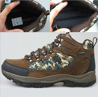 2014 New Men's leather high-top outdoor spring autumn and winter warm waterproof hiking shoes  camouflage big size 45 46 47
