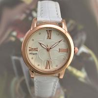 hot gold plated fashion ladies women roman number white rose watch 2015 new dress golden girl wristwatch relogios feminino hour